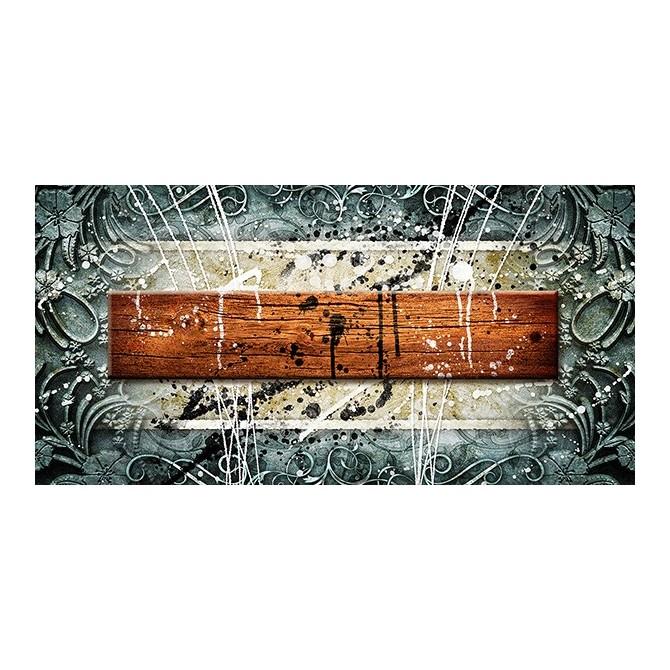 EMO-010 Cuadro Abstracto con Madera y Salpicaduras
