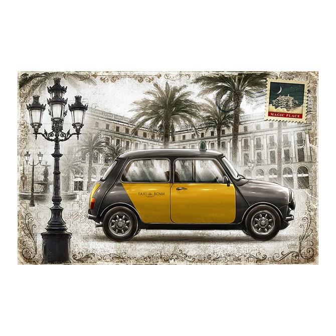 JF_0087_GR1 Cuadro Postal Vintage Plateada con Taxi Barcelona Mini