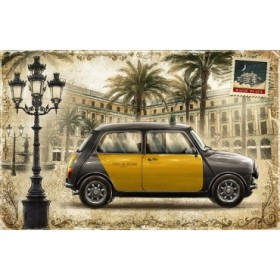 JF_0086_GR1 Cuadro Taxi Barcelona Mini sobre fondo Ocre - Postal Vintage