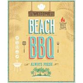 49914410-Vintage Beach BBQ poster. 7 tamaños disponibles