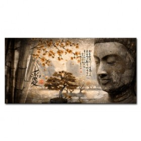 LH-2018.4-N Cuadro Paisaje con Buda y Letras Japonesas Naranja