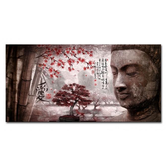 LH-2018.3-R Cuadro Paisaje con Buda y Letras Japonesas Rojo