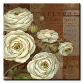 GLA-604_Patina Ranunculus / Cuadro Flores, Flores sobre fondo Vintage