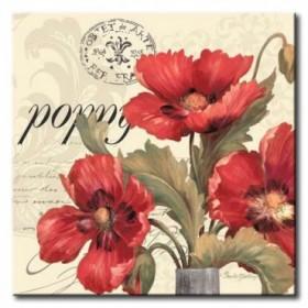 GLA-591_Red / Cuadro Flores, Flores Rojas sobre fondo Vintage