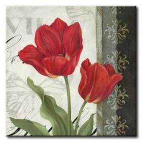 GLA-511_Etude en Rouge II / Cuadro Flores Rojas sobre fondo Vintage
