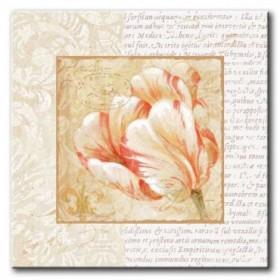 GLA-489_Le Jardin IV / Cuadro Flores, Flor sobre fondo Vintage con Letras