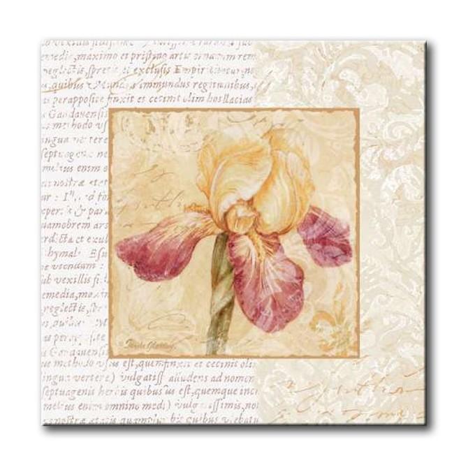 GLA-488_Le Jardin III / Cuadro Flores, Flor sobre fondo Vintage con Letras