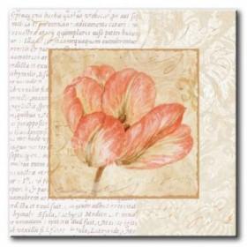GLA-486_Le Jardin I / Cuadro Flores, Flor sobre fondo Vintage con Letras
