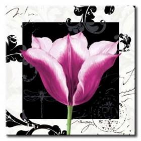 GLA-484_Damask Tulip III / Cuadro Flores, Flor Lila sobre fondo vintage moderno