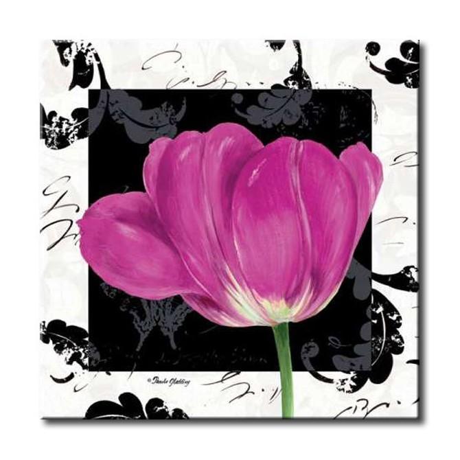 GLA-483_Damask Tulip II / Cuadro Flores, Flor Lila sobre fondo vintage moderno