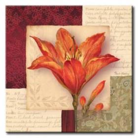 GLA-420_Bella Donna IV / Cuadro Flores, Flor Roja sobre fondo Vintage