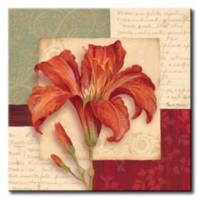 GLA-418_Bella Donna II / Cuadro Flores, Flor Roja sobre fondo Vintage