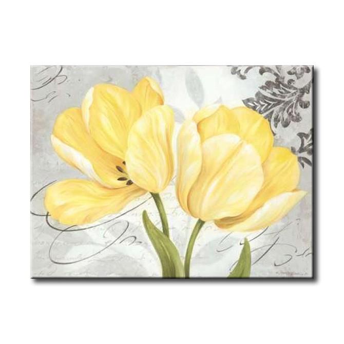 GLA-578_Colori Yellow II - Cuadro Flores Amarillas sobre fondo vintage