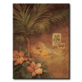 GLA-307_West Indies Sunset I / Cuadro Flores Tropicales estilo Retro