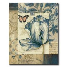 GLA-594_Blue Moods Tulip / Cuadro Flores sobre fondo Vintage