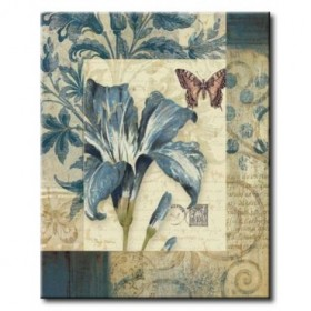 GLA-593_Blue Moods Lily / Cuadro Flores sobre fondo Vintage