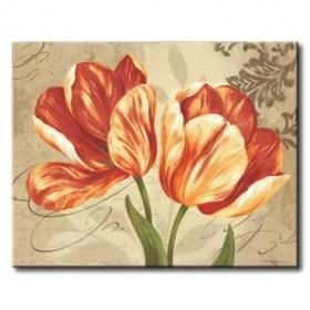 GLA-564_Colori II / Cuadro Flores Naranja sobre fondo Vintage