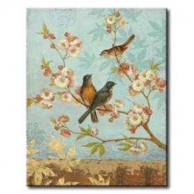 GLA-549_Robins / Cuadro Animales, Pájaros con Flores