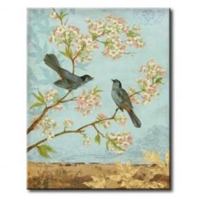 GLA-548_Catbirds / Cuadro Animales, Pájaros con Flores