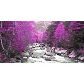 JAP832 / Cuadro Rio y árboles lilas