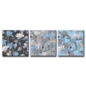 Cuadro Flores Vintage Azul y Gris
