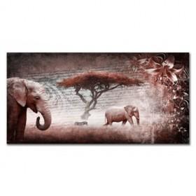 LH-2034 Cuadro Collage Elefantes Rojo