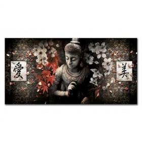 LH-2025 Cuadro Buda - Kanji Love and Beauty Rojo