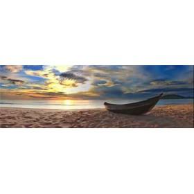 24381482 / Cuadro atardecer en la playa con barca