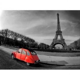 28112143 / Cuadro Torre Eiffel y coche rojo