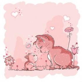 25541598 / Cuadro Gatita rosa y Mami