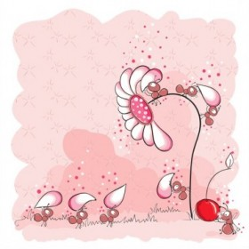 25888675 / Cuadro Hormigas rosas construyendo una flor