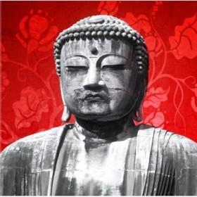 1040424-R / Cuadro Buda Flores Rojo