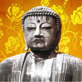 1040424-A / Cuadro Buda Flores Amarillo