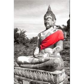 217284-R / Cuadro Buda Túnica Rojo