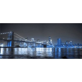 30284684- A / Cuadro Puente de Brooklyn, Nueva York, NY azul