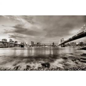 10111095-G / Cuadro Puentes de Brooklyn y Nueva York b/n