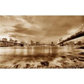 10111095-S / Cuadro Puentes de Brooklyn y Nueva York sepia