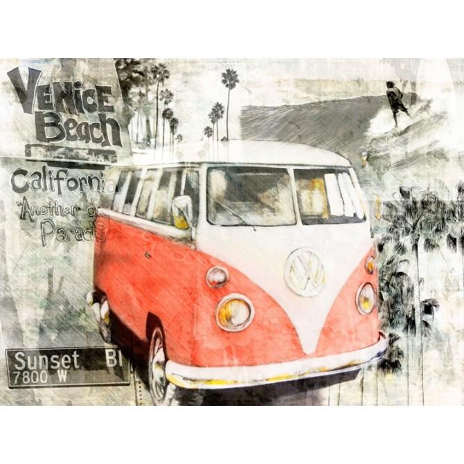 Cuadro Beach Van (rojo)
