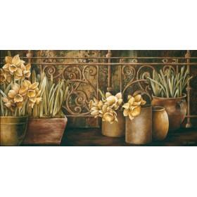 8297 / Cuadro Ironwork with Daffodils