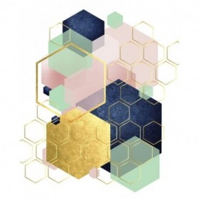Gold Blush Navy Mint Hexagonal