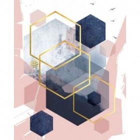 Abstract Navy Blush Gold 1