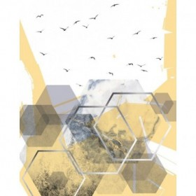 Yellow Grey Abstract Hexagons 2
