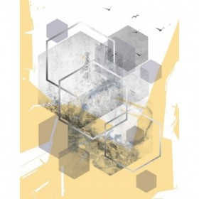 Yellow Grey Abstract Hexagons 1