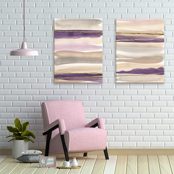 Gilded Amethyst -2 PIECE PAINTING PRINT ON WRAPPED CANVAS SET - 26748-9