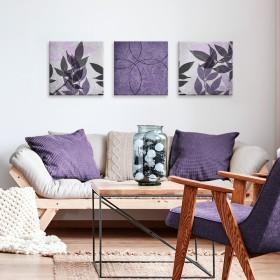 Juego de 3 Cuadros Vibrant Purple