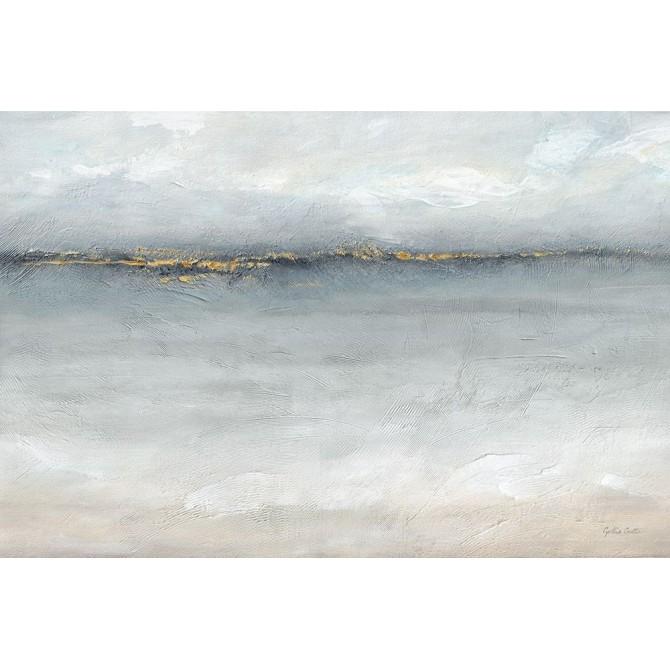 Serene Sea Grey Gold Landscape