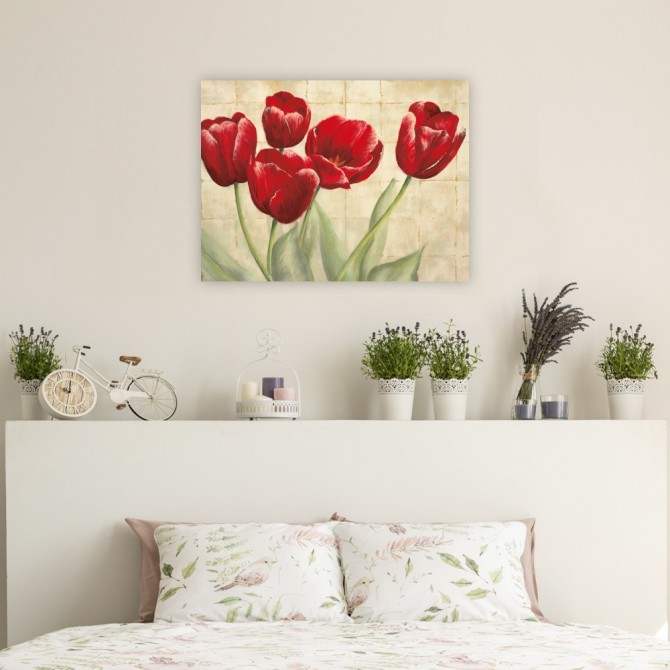 Red Tulips on Ivory