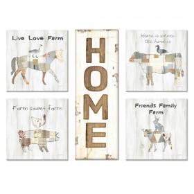Juego de 5 cuadros- Home & Love 03