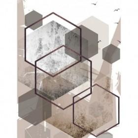 Abstract Hexagons Beige