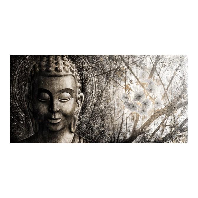 MFZ-0033 Cuadro Zen con Buda y Flores PLATEADO
